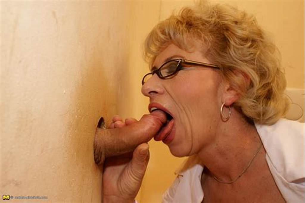 #Blonde #Granny #With #Glasses #Takes #A #Gloryhole #Surprise
