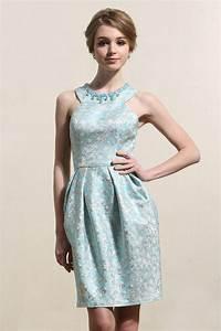 jewel sleeveless satin beading short blue prom dress With modele de robe de soirée