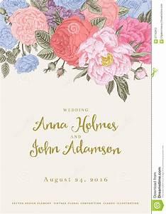 vintage wedding invitation card stock illustration hot With vintage flowers wedding invitations vector