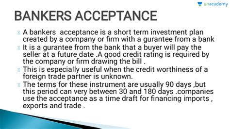 Upon acceptance, which occurs when an authorized bank accepts and signs it, the draft becomes a primary and unconditional liability of the bank. (Hindi) Money Market and Instruments By Rachana Thakur ...