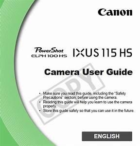 Canon Powershot Elph 100 Hs Manual  Owner User Guide Manual