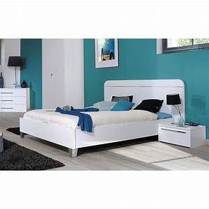 First chambre complete adulte 140 cm laquee blanc achat for Bureau pour chambre adulte