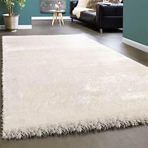Hochflor Teppich Weiß : edler teppich shaggy einfarbig wei ~ Watch28wear.com Haus und Dekorationen