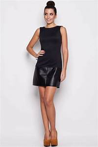 robe noire bi matieres avec jupe en simili cuir office With robe cuir sexy