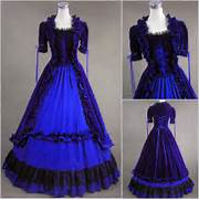 about Freeship Blue Renaissance Gothic Velvet Cosplay Dress Gown Prom      Blue Gothic Prom Dresses