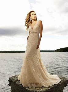 vestidos de noiva 2015 elegant a line v neck lace wedding With champagne colored wedding dress