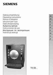 Siemens Tk60001 Surpresso S20 Coffee Maker Download Manual