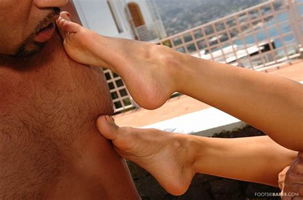 #Cayenne #Klein #In #Sexy #Red #Dress #Enjoys #Foot #Sex #Outdoor