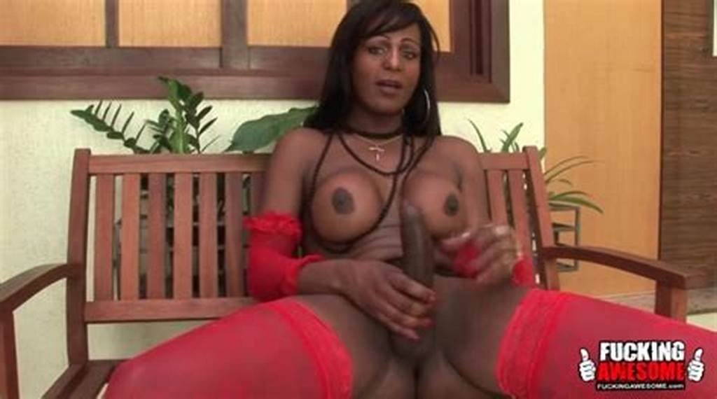 #Big #Cock #Black #Shemale #Strokes #Her #Dick