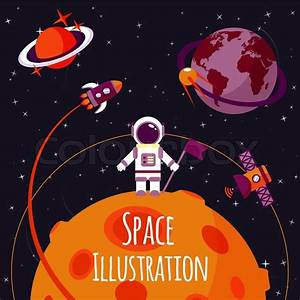 Space Concept With Astronaut On Moon And Rocket Satellites