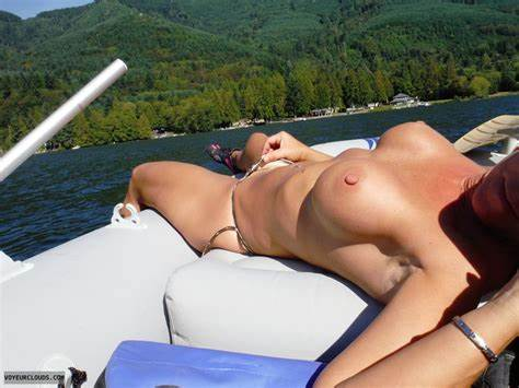 Attractive Wives Braless Muff Peek Outside Chested Sunbathing