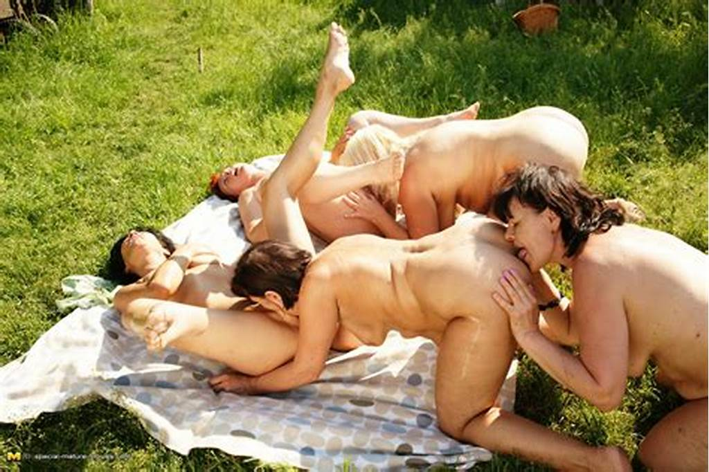 #Five #Naughty #Mature #Lesbians #Go #At #It #Outdoors