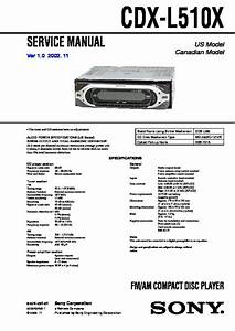 Sony Cdx-l510x Service Manual