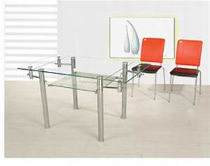 Glass rectangle dining room tablerectangle dining room for Rectangle glass dining room tables