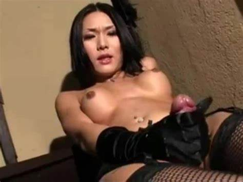 Tiny Blue Haired Latina Shemale Stroking Her Petite Uncut Dildo