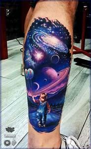 galaxy sky boy holding balloons back of leg