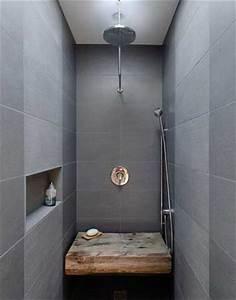 Niche De Douche : carrelage gris et banc bois dans douche l italienne ~ Premium-room.com Idées de Décoration