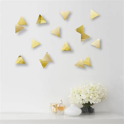 Feather wall decor set of 18 assorted by umbra made of acetate set of 18; Umbra Confetti Triangles Wall Decor (Brass) - Red Candy