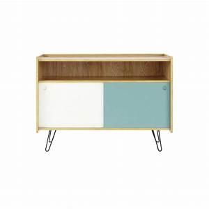 Meuble Blanc Et Bois : meuble tv vintage en bois blanc et bleu l 105 cm twist maisons du monde ~ Teatrodelosmanantiales.com Idées de Décoration