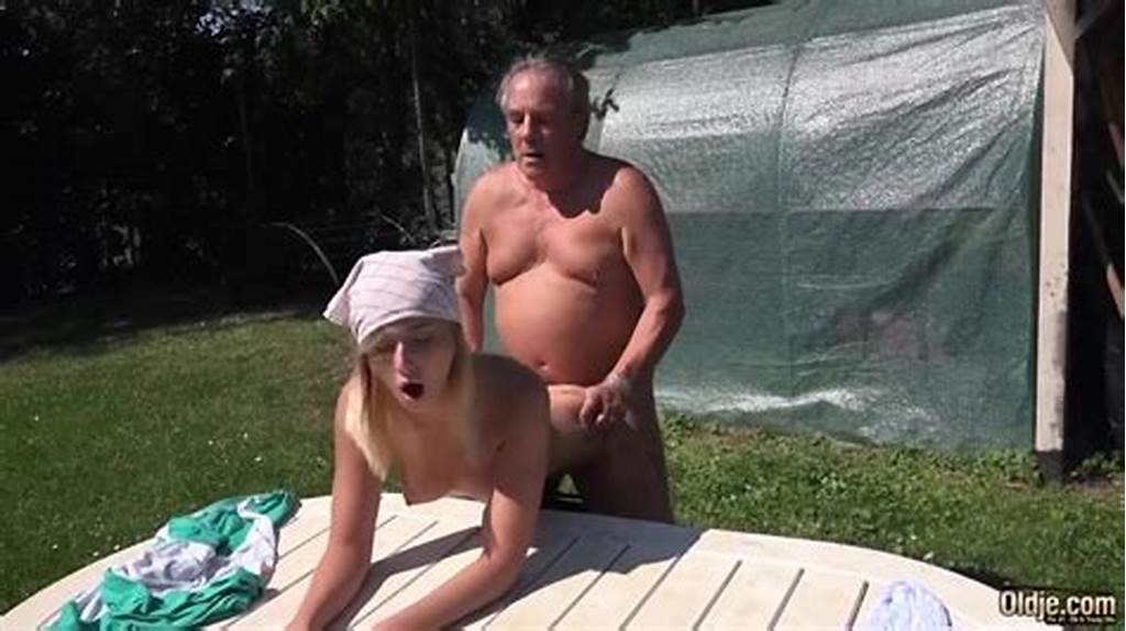 #Old #Man #And #Teen #Have #A #Wild #Sex #In #The #Garden