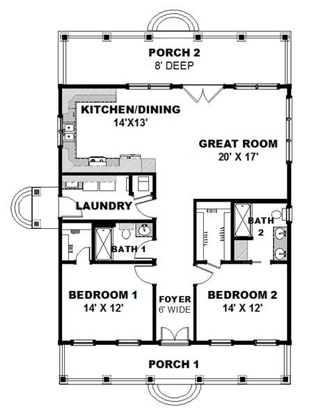 House Plan 64564 Country Style with 1292 Sq Ft 2 Bed 2