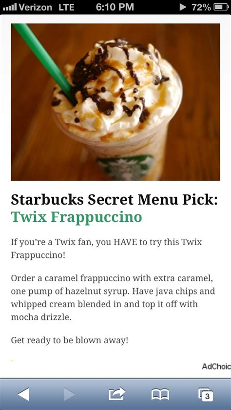 Alex tried four starbucks secret menu drinks, and here's her verdict! If you're a Twix fan, you HAVE to try this Twix Frappuccino! Order a caramel frappuccino with ...