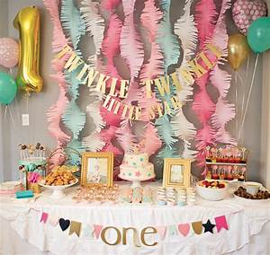 Pink and Gold Twinkle Little Star 1st Birthday Party ...