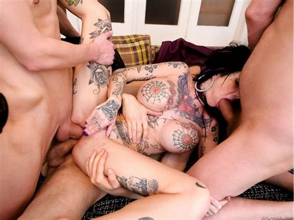 #Heavily #Tattooed #Goth #Milf #Megan #Inky #Banged #With #Three
