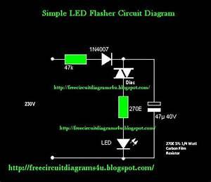 Free Circuit Diagrams 4u  Simple 230v Led Flasher Circuit