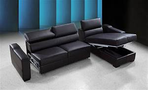 Flip reversible espresso leather sectional sofa bed w storage for Reversible leather sectional sofa bed with storage