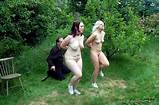 Girl slaves paraded naked outdoors