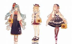 3girls, Alternate, Costume, Aqua, Eyes, Bag, Bespectacled, Blonde, Hair, Blue, Eyes, Blue, Hair, Boots, Bow