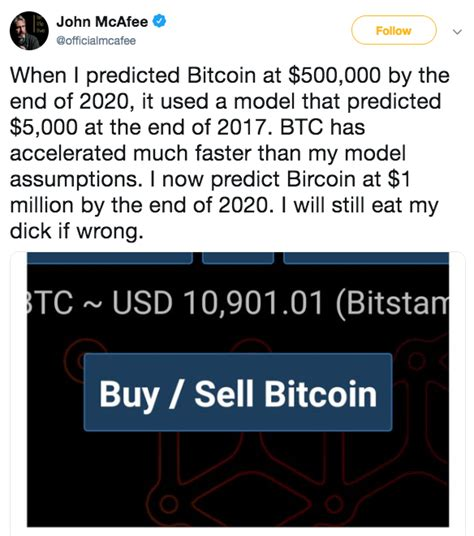 Mcafee got a lot of attention when on twitter in 2017 he predicted that bitcoin will reach $1 million by the end of 2020. Bitcoin-Price-Prediction-from-John-McAfee - CoolWallet S