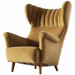 Large, Italian, Wingback, Chair, In, Mohair
