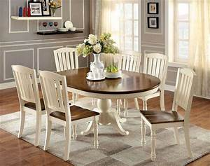 Set Table Rond : 7 piece harrisburg round to oval dining set in vintage white oak finish ~ Teatrodelosmanantiales.com Idées de Décoration