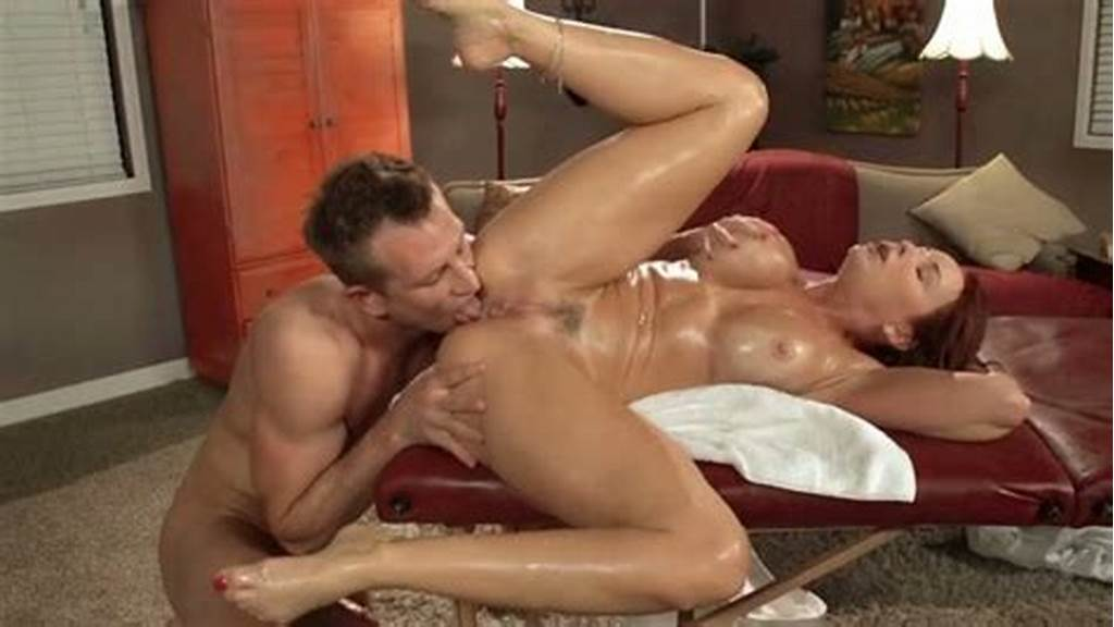 #Oiled #Up #Busty #Milf #Gets #Her #Shaved #Pussy #Licked #And