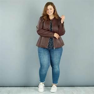 Vetement Femme Petite Taille : blouson zipp en simili grande taille femme kiabi 30 00 ~ Nature-et-papiers.com Idées de Décoration