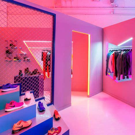 exhib au bureau lurid colours used to illuminate a nike pop up shop