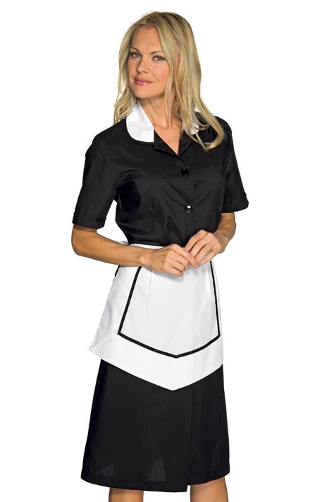 tenue de femme de chambre blouse et tablier femme de chambre manches courtes noir