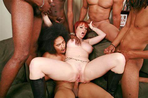 Black Haired Youthful Gangbanged In All Holes