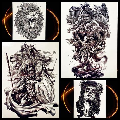 Pirkt Varonis Sparta Karavīrs Pagaidu Tetovējums Vīrieši Sievietes Black Body Art Viltus Flash ...