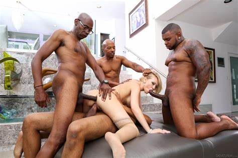 Little Blond Gangbanged By Four Large Long Hair Cocks