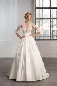 forme princesse col en v satin traine mi longue robes de With robe de mariée mi longue