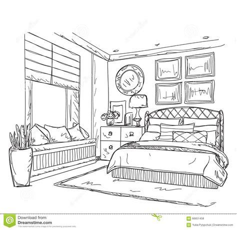 dessin de chambre bedroom interior design drawing sketch coloring page