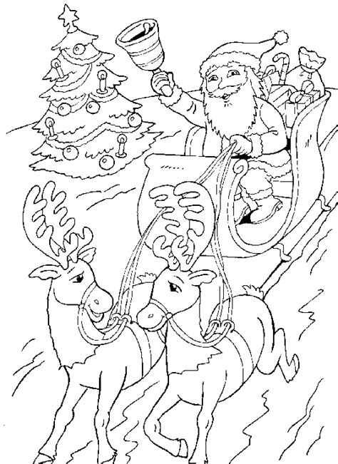 Print een kleurplaat van de kerstman, rendieren, santa's arreslee, kerstklokken, zingende engeltjes of wintertafereeltjes. Kerst Kleurplaten - Arreslee