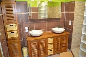 meuble salle de bain en teck leroy merlin farqna With meuble salle de bain bois exotique leroy merlin