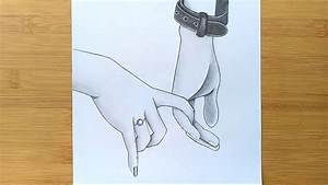 Romantic Couple Holding Hands pencil sketch || How to draw ...