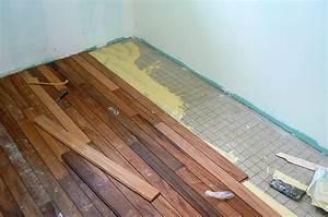 Carrelage plancher bois fashion designs for Parquet collé sur plancher bois