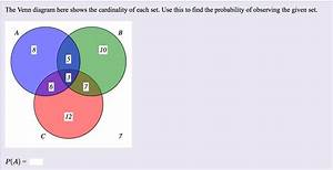 Solved  The Venn Diagram Here Shows The Cardinality Of