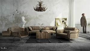 salon style industriel idees de mobilier et de decoration With tapis champ de fleurs avec canape type industriel